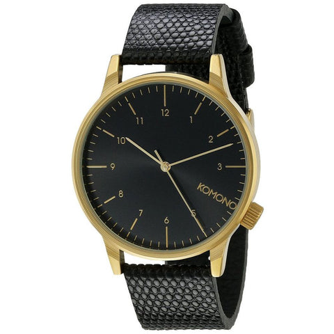 Komono KOM-W2551 Unisex Winston Monte Carlo Lizard Analog Display Quartz Watch, Black Leather Band, Round 41mm Case