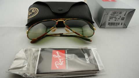Ray-Ban RB3025JM 168/4E Aviator Camouflage Sunglasses, Gold/Multi-Colored Frame, Green Classic 58mm Lenses