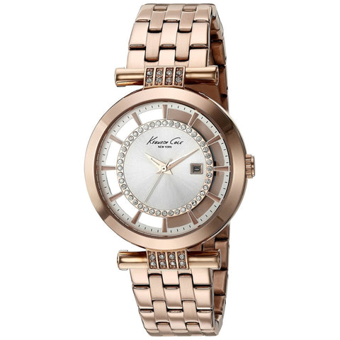 Kenneth Cole 10021106 Women's Analog Display Quartz Watch, Rose Gold Stainless Steel Band, Round 35mm Case