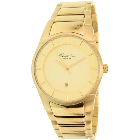 Kenneth Cole 10027726 Men's Analog Display Quartz Watch, Gold Stainless Steel Band, Round 42mm Case