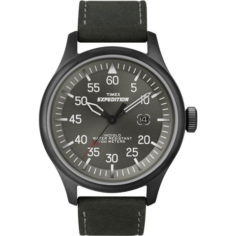Timex T49877 Expedition Aviator Analog Display Quartz Watch, Black Leather Band, Round 42mm Case