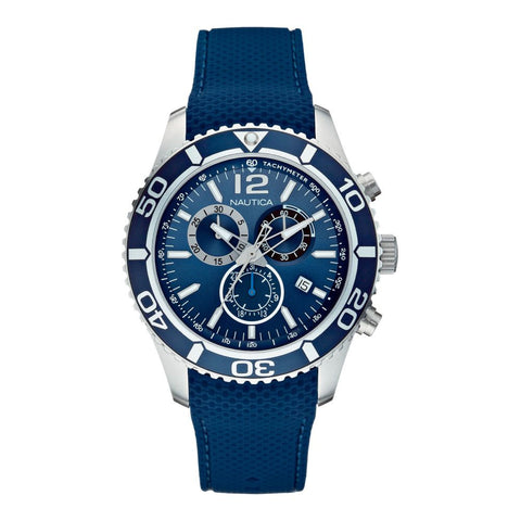 Nautica N15103G NST 09 Men's  Analog Display Quartz Watch, Blue Silicone Band, Round 44mm Case
