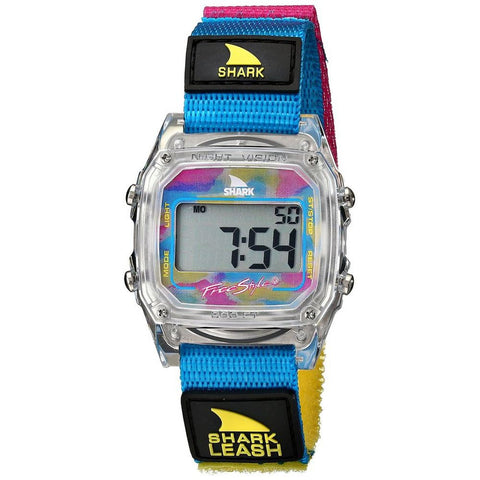 Freestyle Unisex 102245 Shark Leash Clear/Cyan Digital Watch, Multicolor Nylon Velcro Band, Square 38mm Case