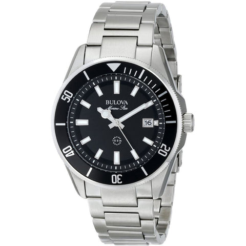 Bulova 98B203 Marine Star Analog Display Quartz Watch, Silver Stainless Steel Band, Round 43mm Case