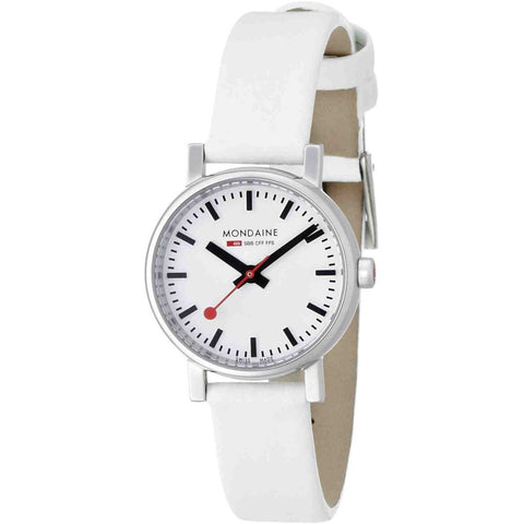 Mondaine A658.30301.11SBN Evo Petite Analog Display Quartz Watch, White Leather Band, Round 26mm Case