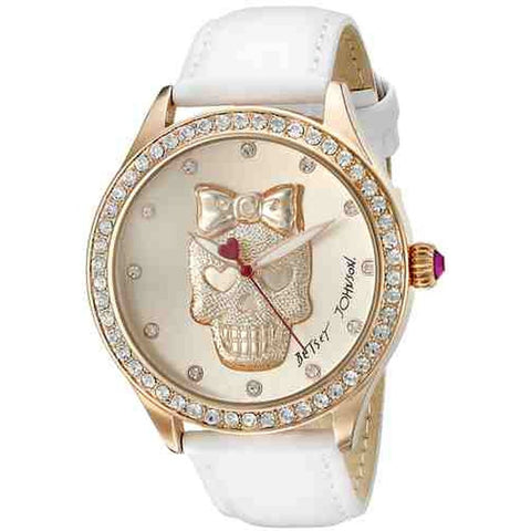 Betsey Johnson BJ00517-25 Analog Display Quartz Watch, White Leather Band, Round 42mm Case