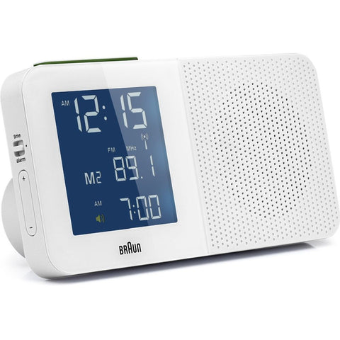 Braun BNC010WH-SRC LCD Display Radio Alarm Clock, Global Radio Controlled, White Rectangle Case
