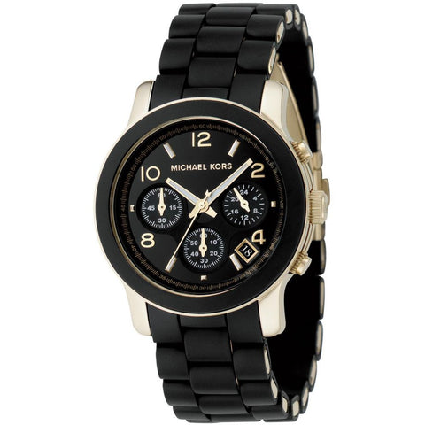 Michael Kors MK5191 Runway Analog Display Chronograph Quartz Watch, Black Silicone Band, Round 38mm Case