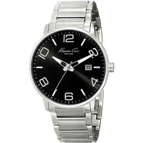 Kenneth Cole KC9303 Dress Sport Men's Analog Watch, Silver Stainless Steel Band, Round 42mm Case
