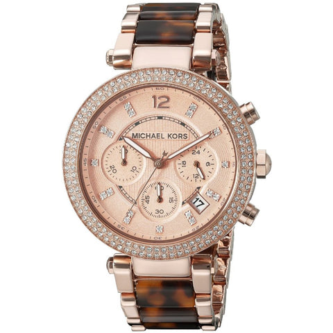 Michael Kors MK5538 Parker Analog Display Chronograph Quartz Watch, Rose Gold Stainless Steel and Tortoise Acetate Band, Round 39mm Case