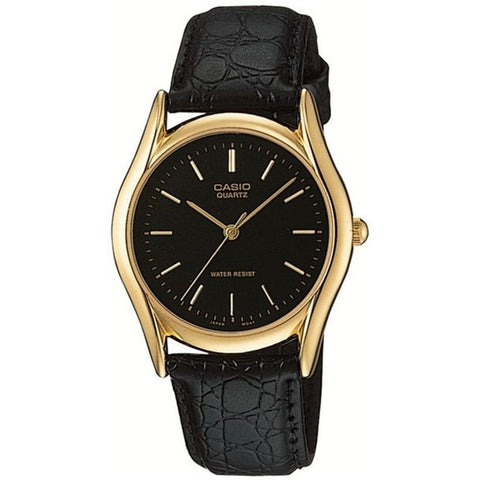 Casio MTP-1094Q-1A Men's Strap Fashion Analog Display Quartz Watch, Black Leather Band, Round 34mm Case