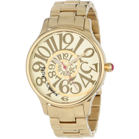 Betsey Johnson BJ00040-02 Analog Display Quartz Watch, Gold Stainless Steel Band, Round 39mm Case