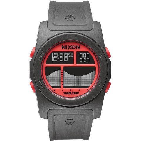 Nixon A3851689 Men's Rhythm Gray/Neon Orange Digital Watch, Gray Polyurethane Band, Round 41mm Case