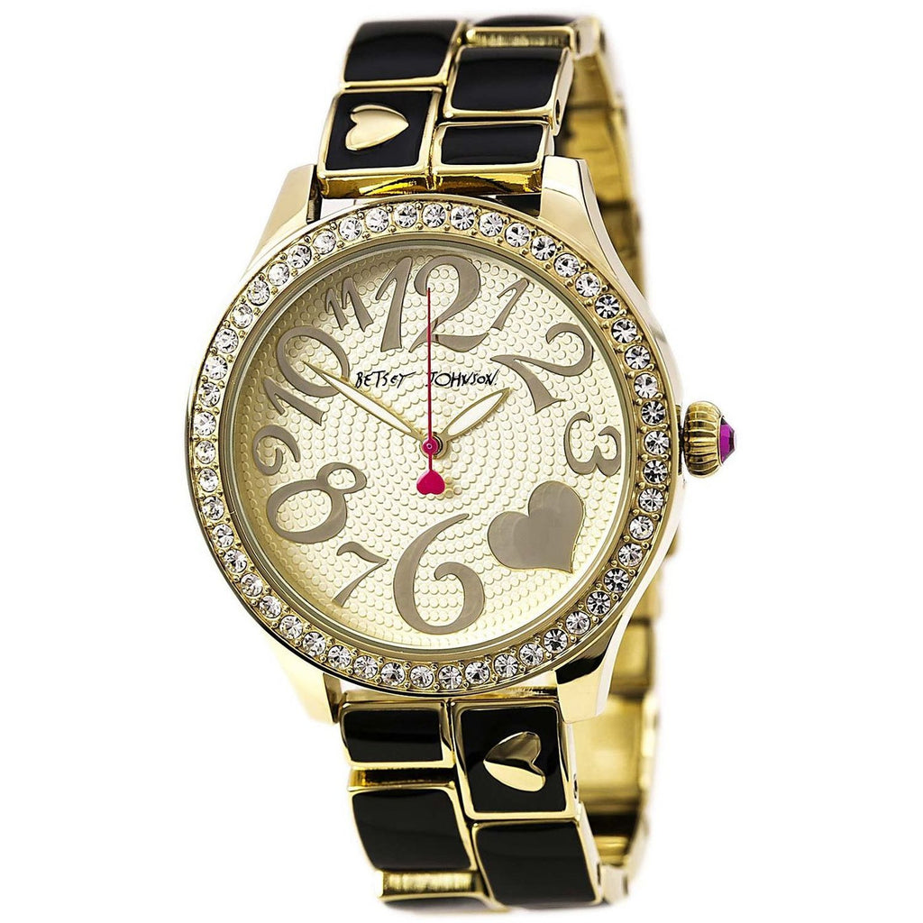 Betsey Johnson BJ00198-05 Women's Analog Display Quartz Watch - Gold And Black Bracelet - Round 42mm Case