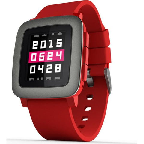 Pebble Time Digital Display Smart Watch, Silicone Band, Rectangle 37.5mm Case