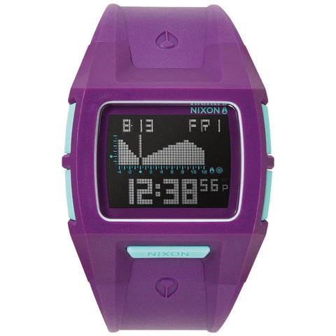 Nixon A364230 Women's Lodown S Purple Digital Watch, Purple Polyurethane Band, Square 39mm Case