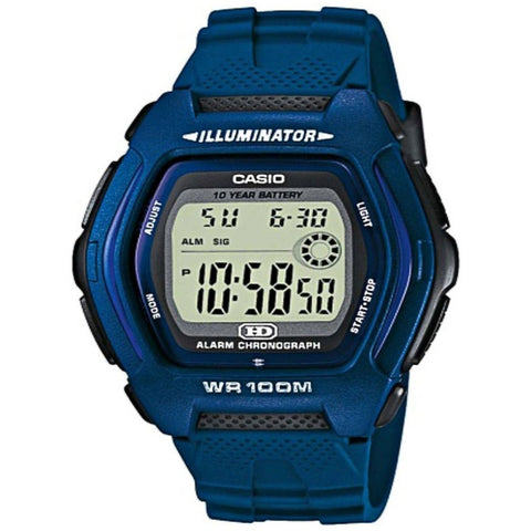 Casio HDD600C-2AV Men's Digital Display Quartz Watch, Blue Resin Band, Square 42mm Case