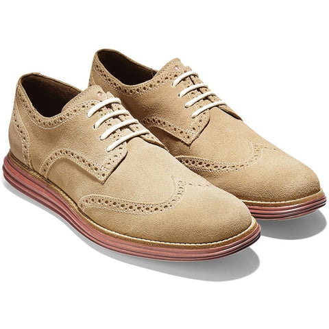 Cole Haan C10228 LunarGrand Wing Oxford Men's Leather Shoes, Milkshake Suede, Size 7.5 W US