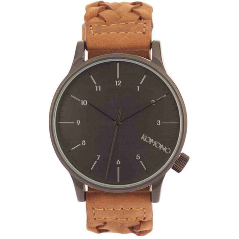 Komono KOM-W2031 Winston Woven Chestnut Analog Quartz Watch, Brown Leather Band, Round 41mm Case