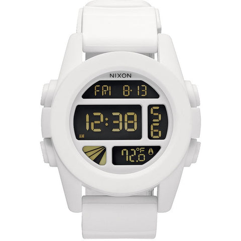 Nixon A197100 Men's Unit White Digital Watch, White Silicone Band, Round 49mm Case