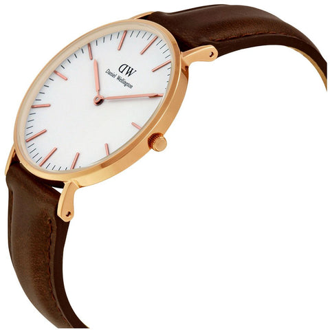 Daniel Wellington 0511DW Bristol Quartz Analog Women's Watch, Dark Brown Leather Band, Rose Gold 36mm Case