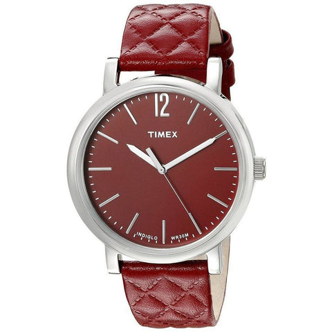 Timex TW2P71200AB Originals Matelasse Women's Analog Display Quartz Watch, Red Leather Band, Round 38mm Case
