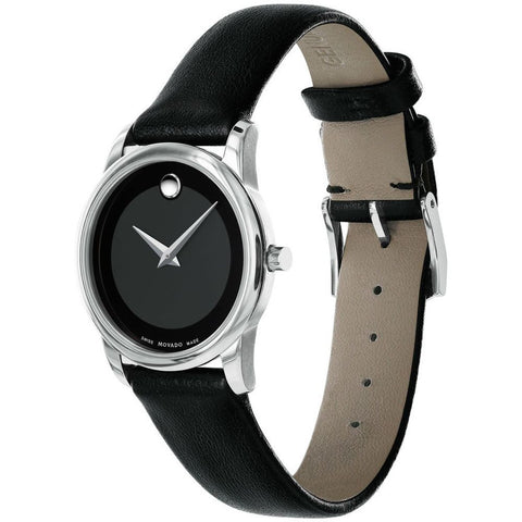Movado 0606503 Museum Classic Analog Display Quartz Watch, Black Leather Band, Round 28mm Case