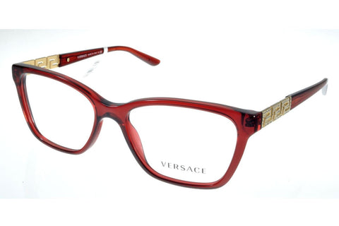 Versace VE3192B 388 Eyeglasses, Transparent Red Frame, Clear 54mm Lenses