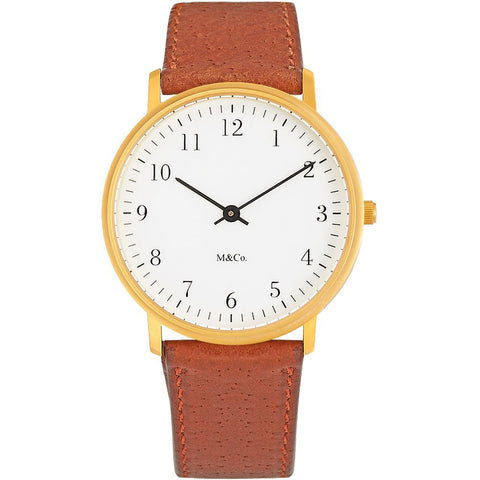 Projects 7401BR-BR M&Co Bodoni Brass Analog Display Quartz Watch, Brown Leather Band, Round 33mm Case