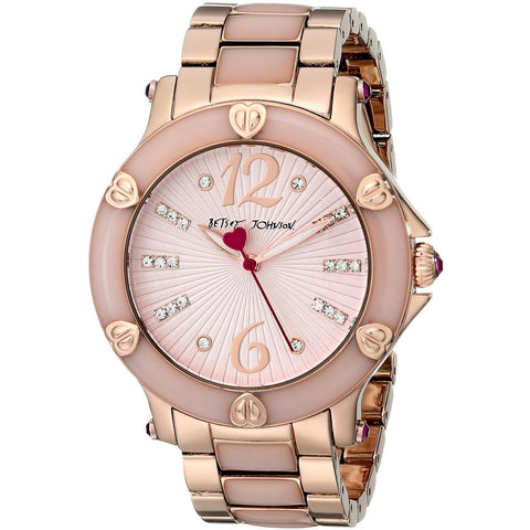 Betsey Johnson BJ00459-04 Women's Analog Display Quartz Watch - Rose Gold Bracelet - Round 41mm Case