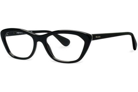 Prada PR03QV 1AB1O1 Eyeglasses, Black Frame, Clear 52mm Lenses