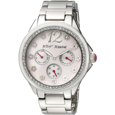 Betsey Johnson BJ00474-01 Women's Analog Display Quartz Watch - Silver Bracelet - Round 41mm Case