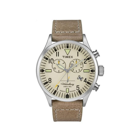 Timex TW2P84200 The Waterbury Chronograph Men's Analog Display Quartz Watch, Tan Leather Band, Round 42mm Case