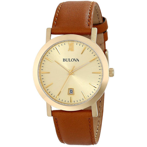 Bulova 97B135 Classic Analog Display Quartz Watch, Brown Leather Band, Round 38mm Case