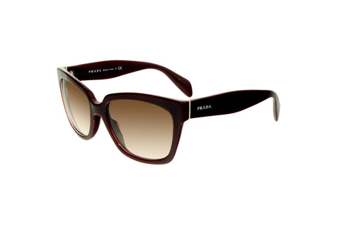 Prada PR07PS UAN0A6 Women's Sunglasses, Opal Bordeaux Frame, Brown Gradient 56mm Lenses