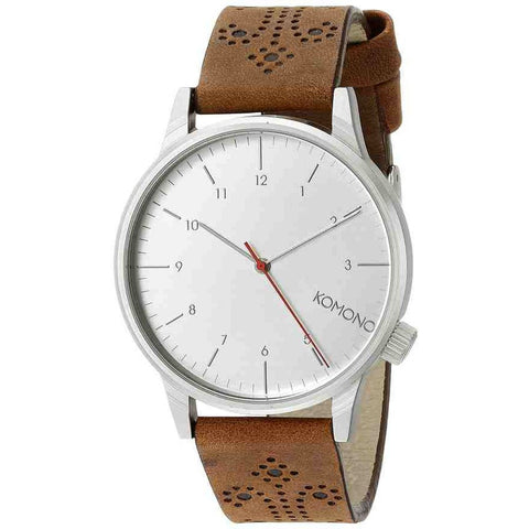 Komono KOM-W2013 Winston Brogue Walnut Analog Quartz Watch, Brown Leather Band, Round 41mm Case