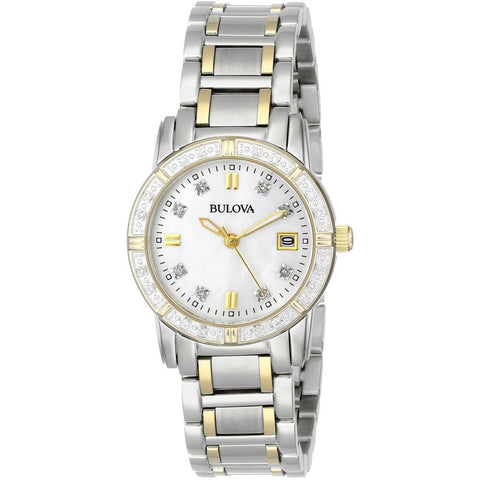 Bulova 98R107 Diamond Women's Analog Display Quartz Watch, Silver/Gold Stainless Steel Band, Round 26mm Case