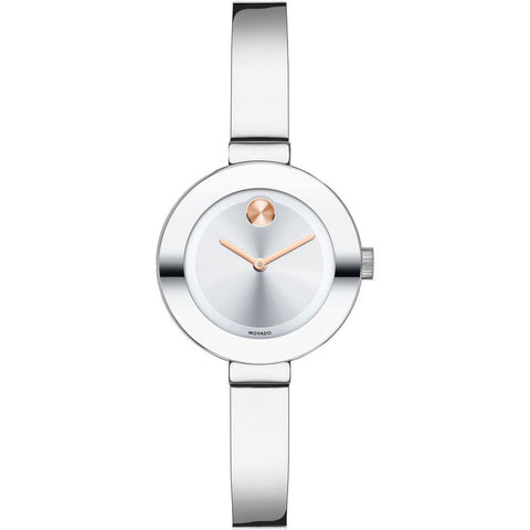 Movado 3600284 Bold Analog Display Quartz Watch, Silver Stainless Steel Band, Round 25mm Case
