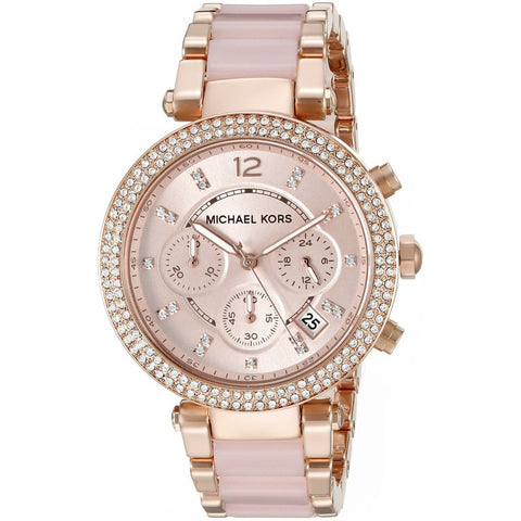 Michael Kors MK5896 Parker Analog Display Chronograph Quartz Watch, Rose Gold Stainless Steel and Blush Acetate Band, Round 39mm Case