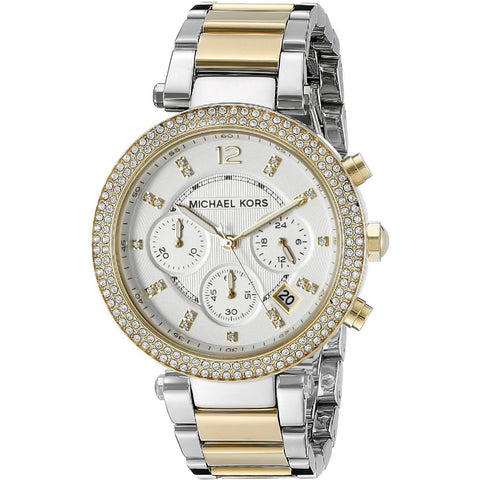 Michael Kors MK5626 Women's Parker Analog Display Quartz Watch, Two-Toned Stainless Steel Band, Round 39mm Case