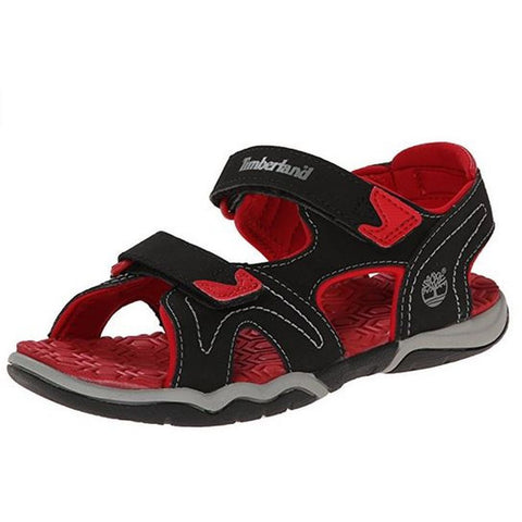 Timberland C3480A Kid's Adventure Seeker Two-Strap Sandals, Blackout/Red