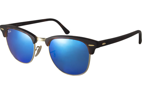 Ray-Ban RB3016 1145/17 Clubmaster Flash Lenses Sunglasses, Tortoise Frame, Blue Flash 51mm Lenses