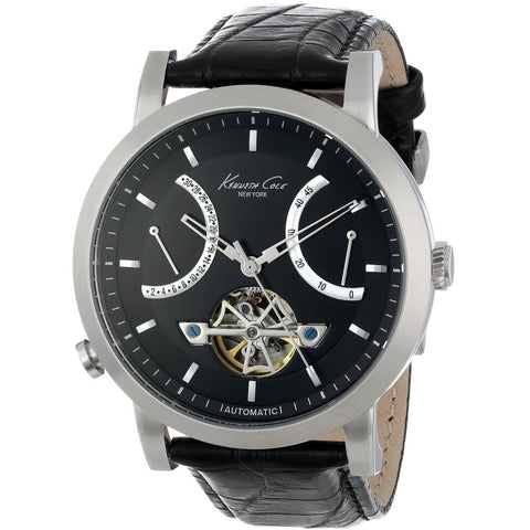 Kenneth Cole KC8015 Automatic Men's Analog Chronograph Watch, Black Leather Band, Round 43mm Case