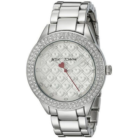 Betsey Johnson BJ00467-11 Women's Analog Display Quartz Watch, Silver Stainless Steel Band, Round 40mm Case