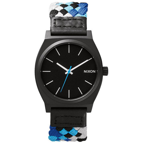 Nixon A0451936 Men's Time Teller Black/Blue Woven Analog Watch, Multicolor Canvas Band, Round 37mm Case