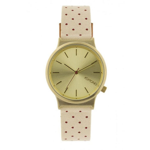 Komono KOM-W1837 Women's Wizard Print Series Polkadot Sands Analog Display Quartz Watch, Beige Canvas Band, Round 36mm Case
