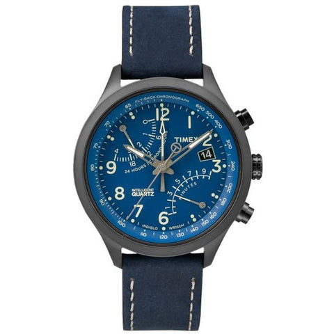 Timex T2P380 Intelligent Quartz Fly-Back Chronograph Men's Analog Display Watch, Blue Leather Band, Round 43mm Case