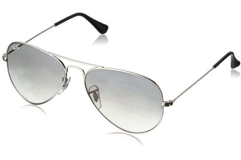 Ray-Ban RB3025 003/32 Aviator Gradient Sunglasses, Silver Frame, Light Grey Gradient 58mm Lenses