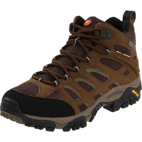Merrell J87701W Men's Moab Mid Gore-Tex Wide-Width Hiking Shoes, Dark Earth