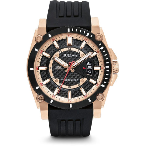 Bulova 96B152 Precisionist Analog Display Men's Watch, Black Rubber Band, Round 46.5mm Case